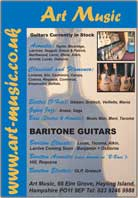 acoustic guitars, baratone guitars, electric guitars